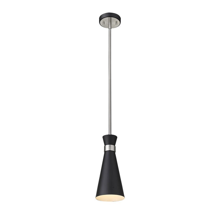 Z-Lite 728MP-MB-BN Soriano 1 Light Mini Pendant in Matte Black + Brushed Nickel with Matte Black Shade