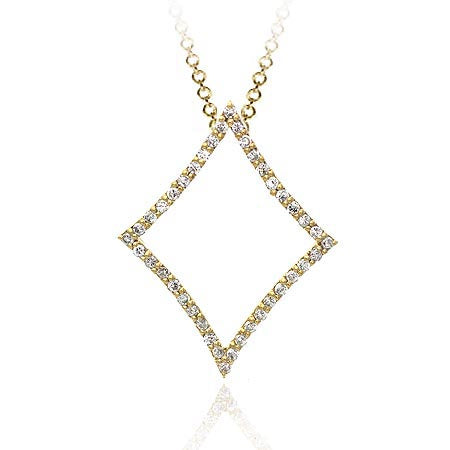 18k Gold Over Sterling Silver Cz Open Square Pendant