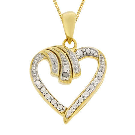 18k Gold Over Sterling Silver Diamond Heart Pendant