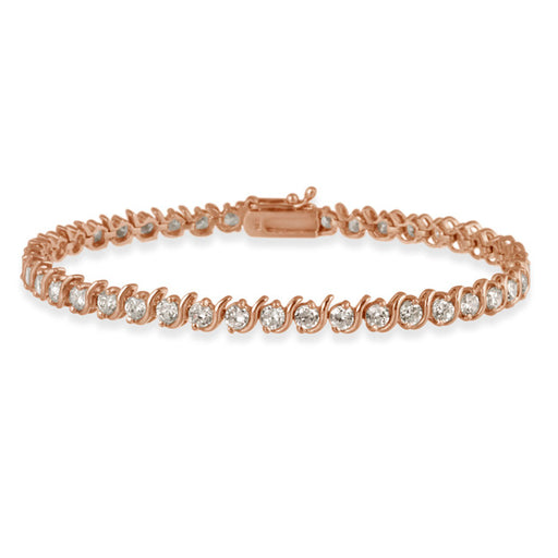 18k Rose Gold Over Sterling Silver Cz Tennis Bracelet