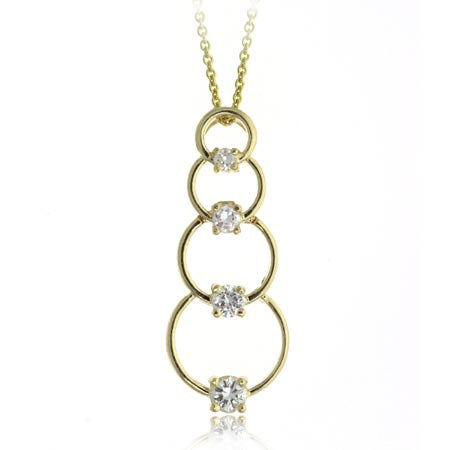 18k Gold Over Sterling Silver Cz Circle Journey Necklace