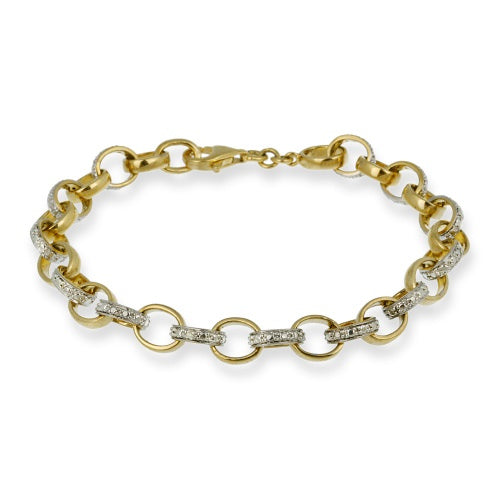 18k Gold Over Silver Diamond Accent Circle & Bar Link Bracelet