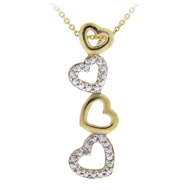 18k Gold Over Sterling Silver Diamond Accent Floating Heart Linear Pendant