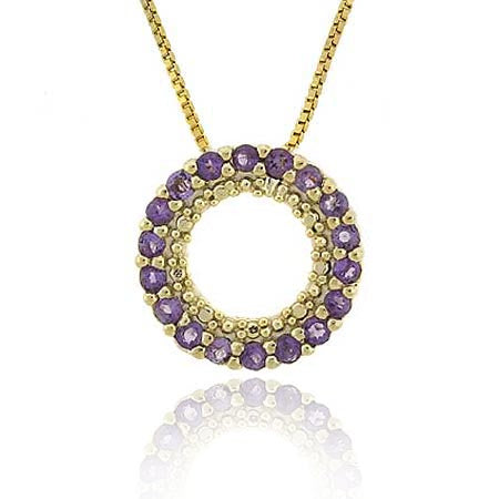 18k Gold Over Sterling Silver 1-2ct Amethyst Circle Eternity Pendant