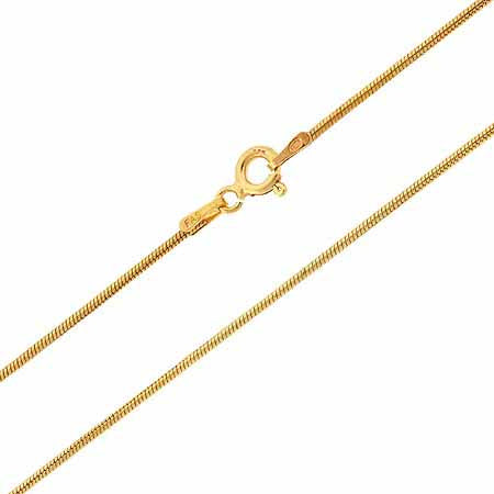 "18k Gold Over Sterling Silver 1mm Snake Chain Necklace 14"" 16"" 18"" 20"" 24"" 30"""
