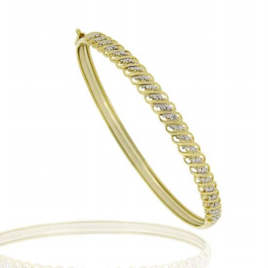 18k Gold Over Silver Diamond Accent S Design Bangle