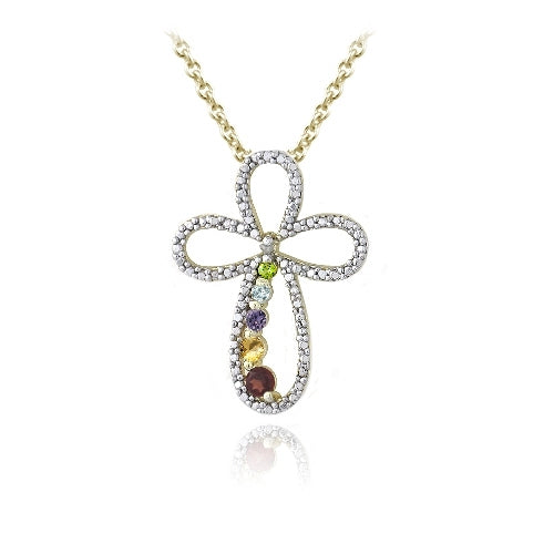 18k Gold Plated Multi Gemstone & Diamond Accent Journey Cross Necklace