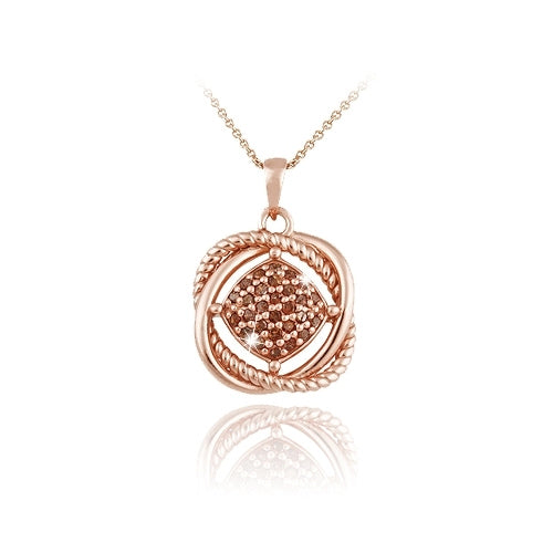 18k Rose Gold Over Sterling Silver 1-4ct Red Diamond Love Knot Necklace
