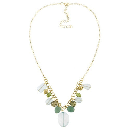 18k Gold Over Silver Satin, Crystal, Blue Quartz, Peridot Dangling Beads & Chips Fashion Necklace