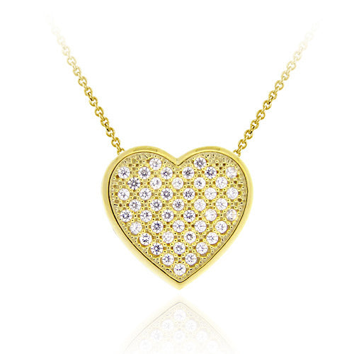 18k Gold Over Sterling Silver Cz Micro Pave Heart Slide Pendant