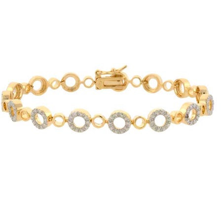 18k Gold Over Silver Diamond Accent Circle Link Bracelet