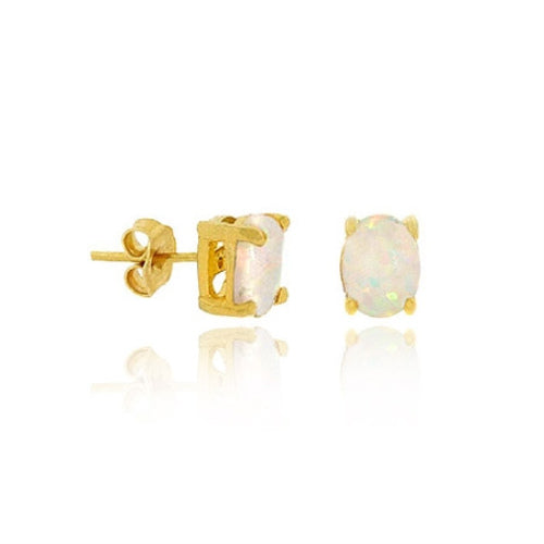 18k Gold Over Sterling Silver Created White Opal 6x4mm Stud Earrings