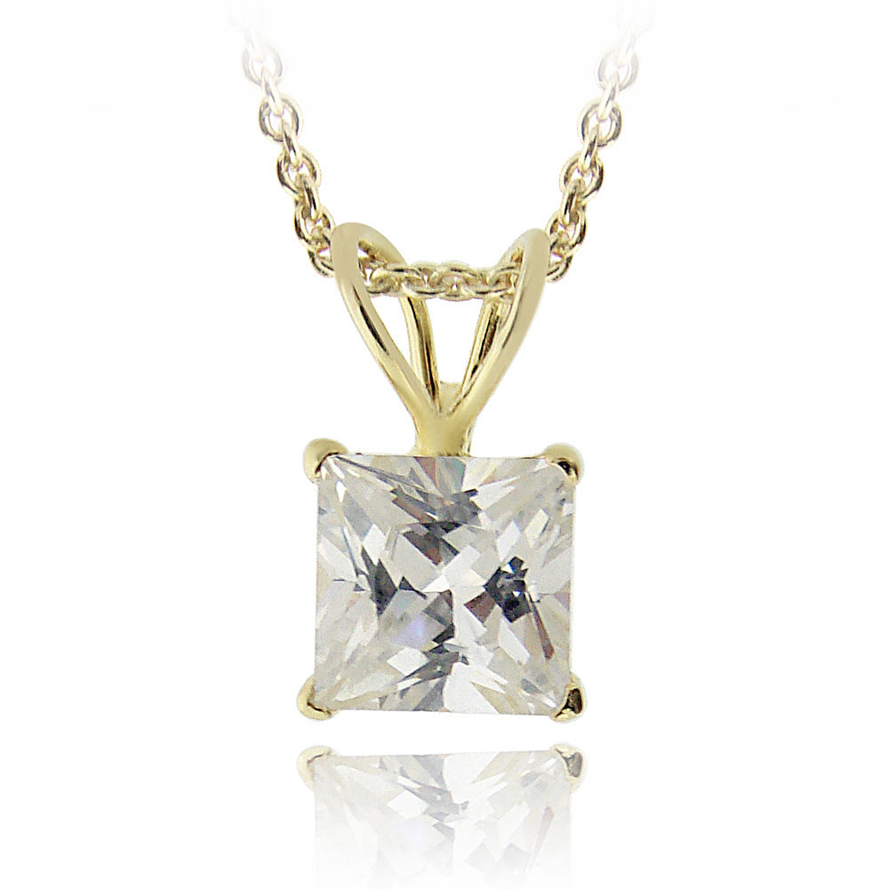 18k Gold Plated 1.25ct Cz Square Solitaire Necklace, 6mm