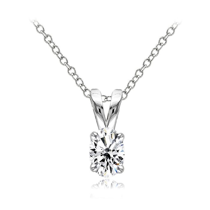 Sterling Silver Cubic Zirconia 6x4mm Oval Solitaire Necklace