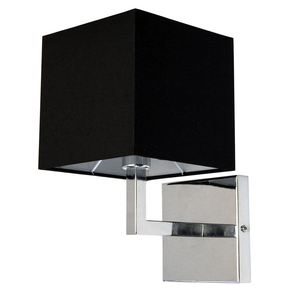 Dainolite 77-1W-PC-BK 1 Light Incandescent Wall Sconce, Polished Chrome with Black Shade Finish
