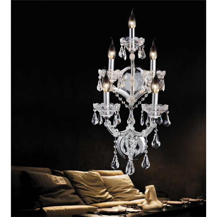 CWI Lighting 8318W12C-5 (Clear) Maria Theresa 5 Light Wall Sconce with Chrome finish