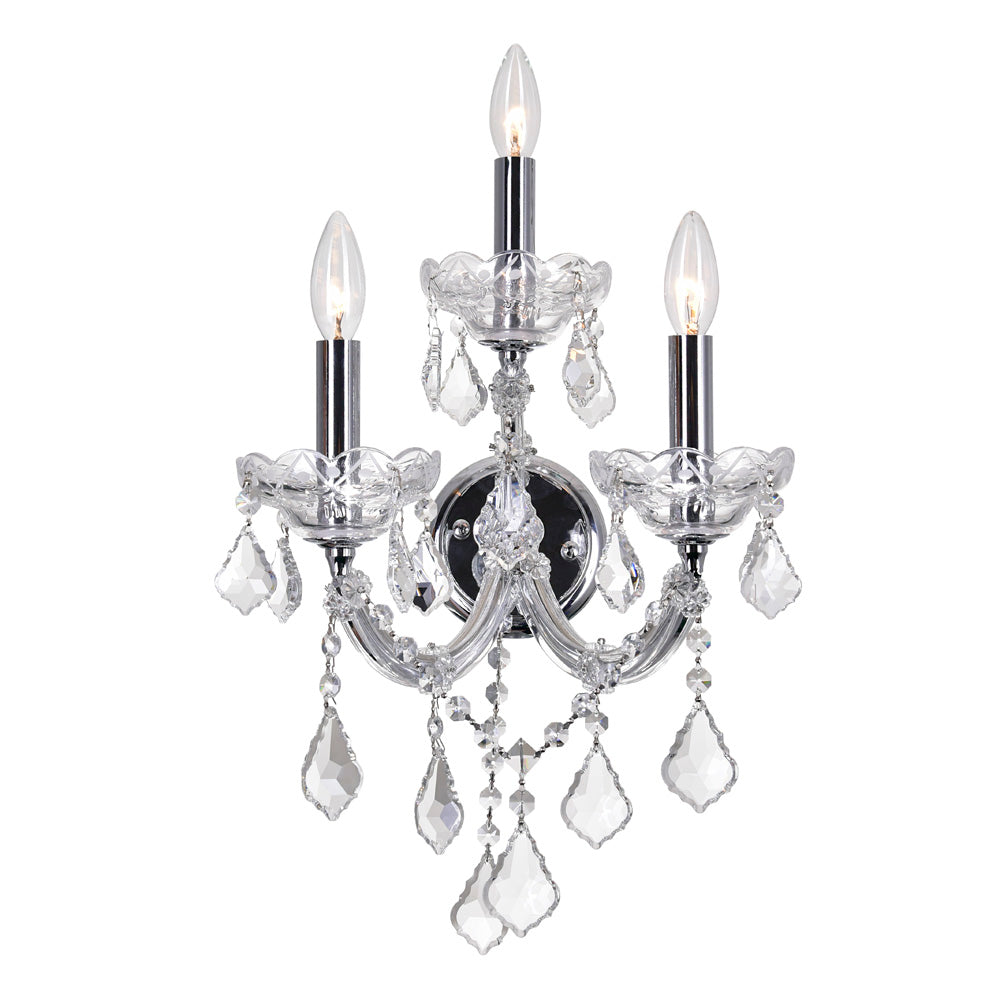 CWI Lighting 8318W12C-3 (Clear) Maria Theresa 3 Light Wall Sconce with Chrome finish