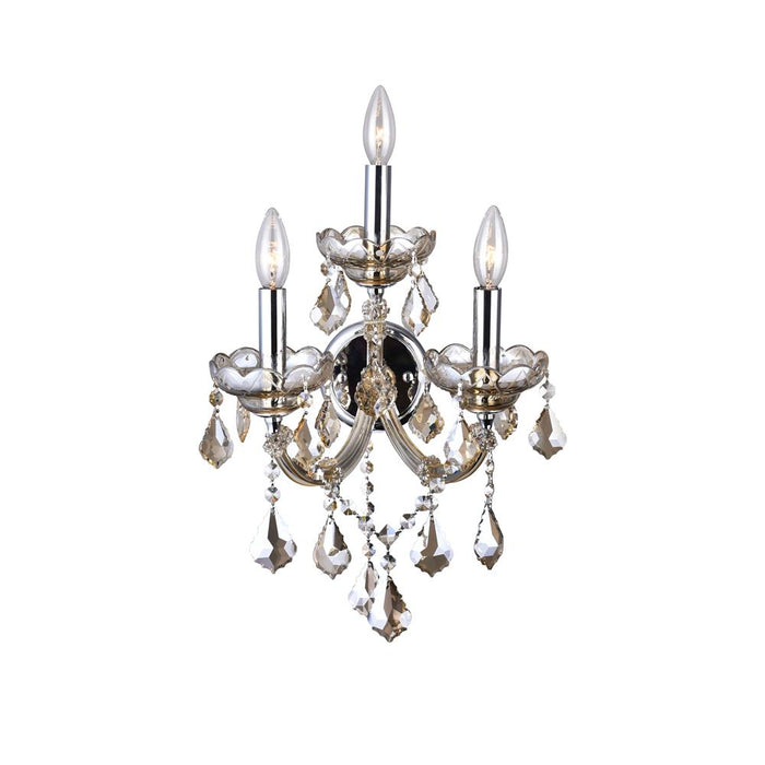 CWI Lighting 8318W12C-3 (Cognac) Maria Theresa 3 Light Wall Sconce with Chrome finish