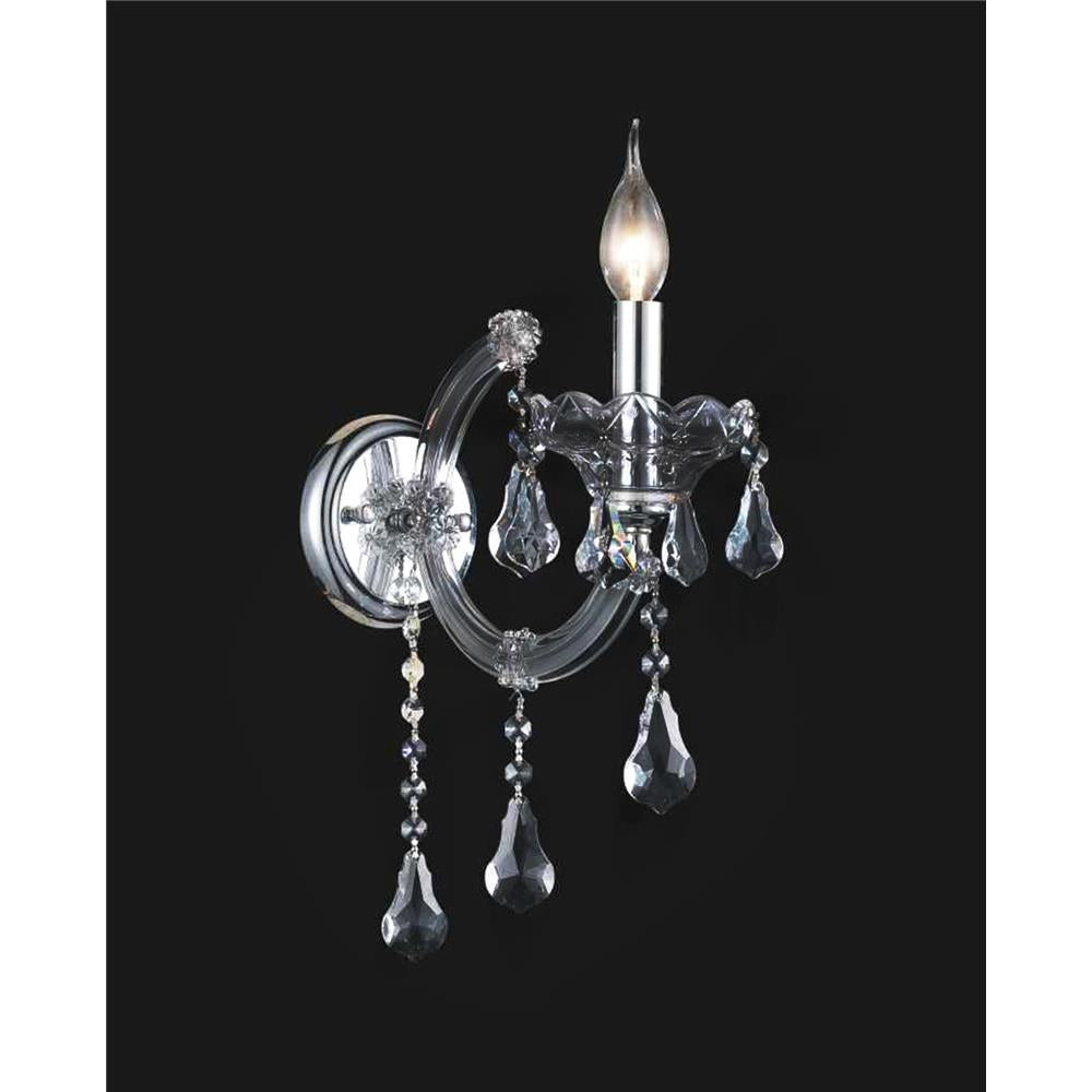 CWI Lighting 8318W5C-1 (Smoke) Maria Theresa 1 Light Wall Sconce with Chrome finish