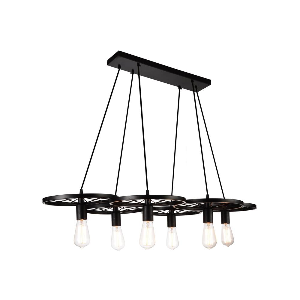 CWI Lighting 9699P41-6-101 Ravi 6 Light Down Chandelier with Black finish