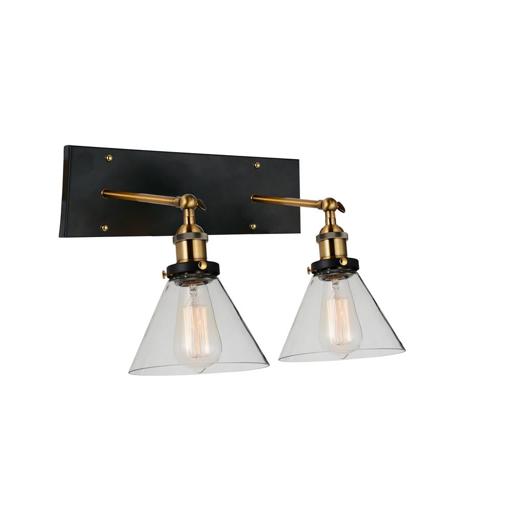 CWI Lighting 9735W15-2-101 Eustis 2 Light Wall Sconce with Black & Gold Brass finish