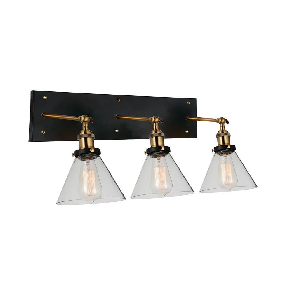 CWI Lighting 9735W24-3-101 Eustis 3 Light Wall Sconce with Black & Gold Brass finish
