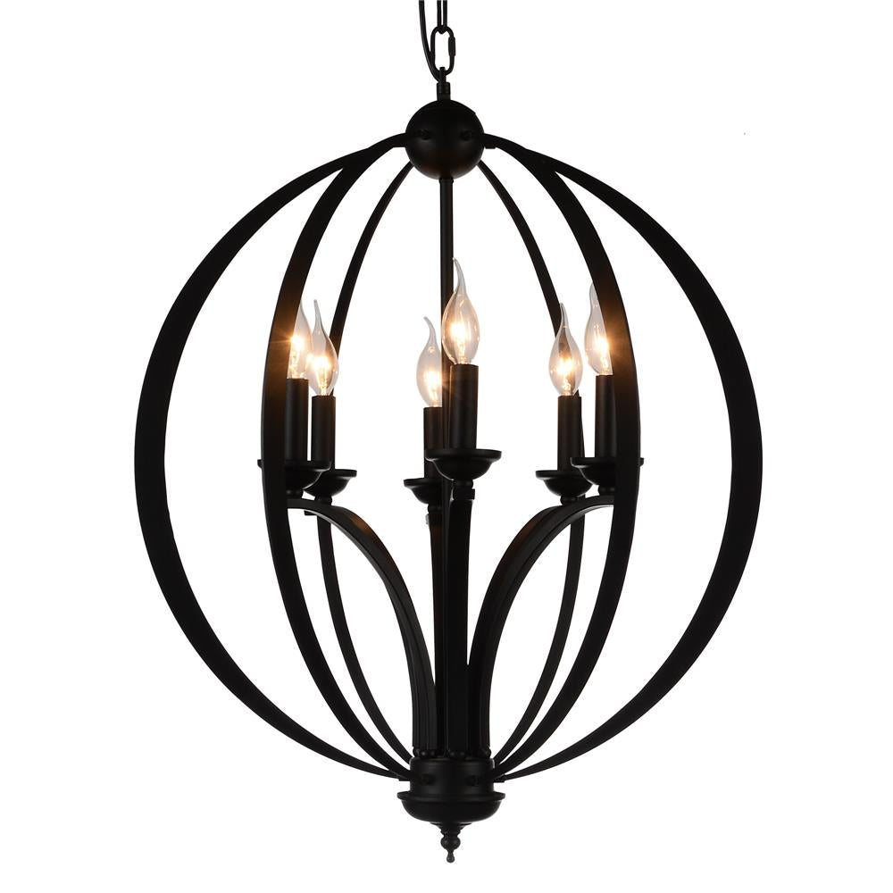 CWI Lighting 9825P24-6-101 Drift 6 Light Up Chandelier with Black finish
