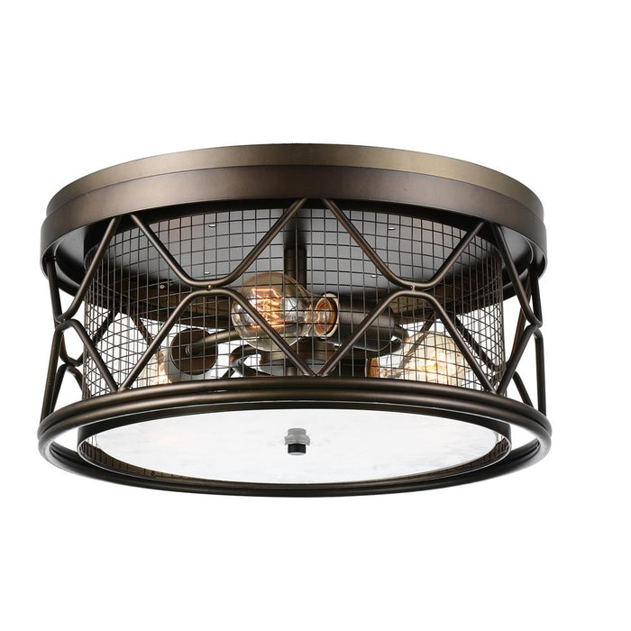 CWI Lighting 9914C16-3-204 Kali 3 Light Cage Flush Mount with Light Brown finish