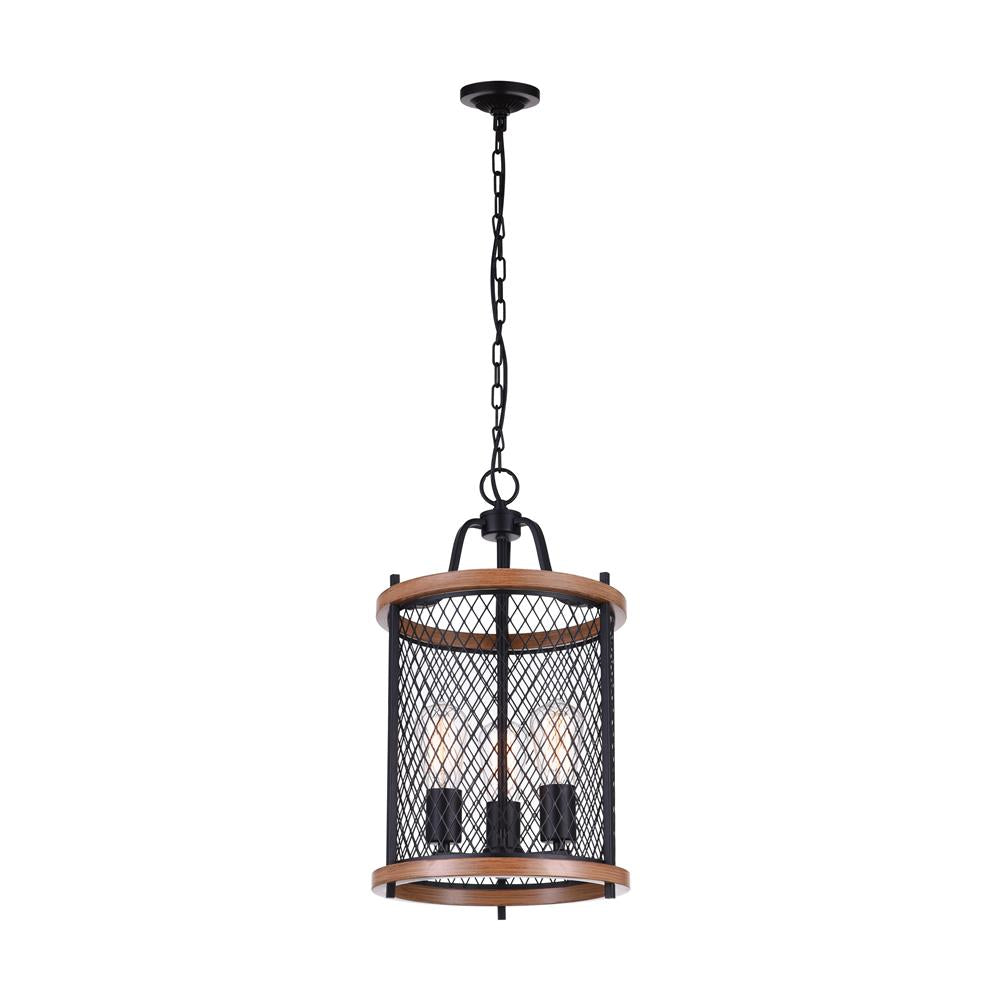 CWI Lighting 9960P12-3-101 Kayan 3 Light Drum Shade Mini Chandelier with Black finish