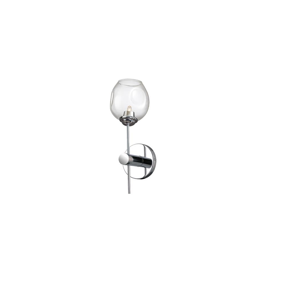 Dainolite ABI-141W-PC Abii 1 Light Halogen Wall Sconce, Polished Chrome with Clear Glass