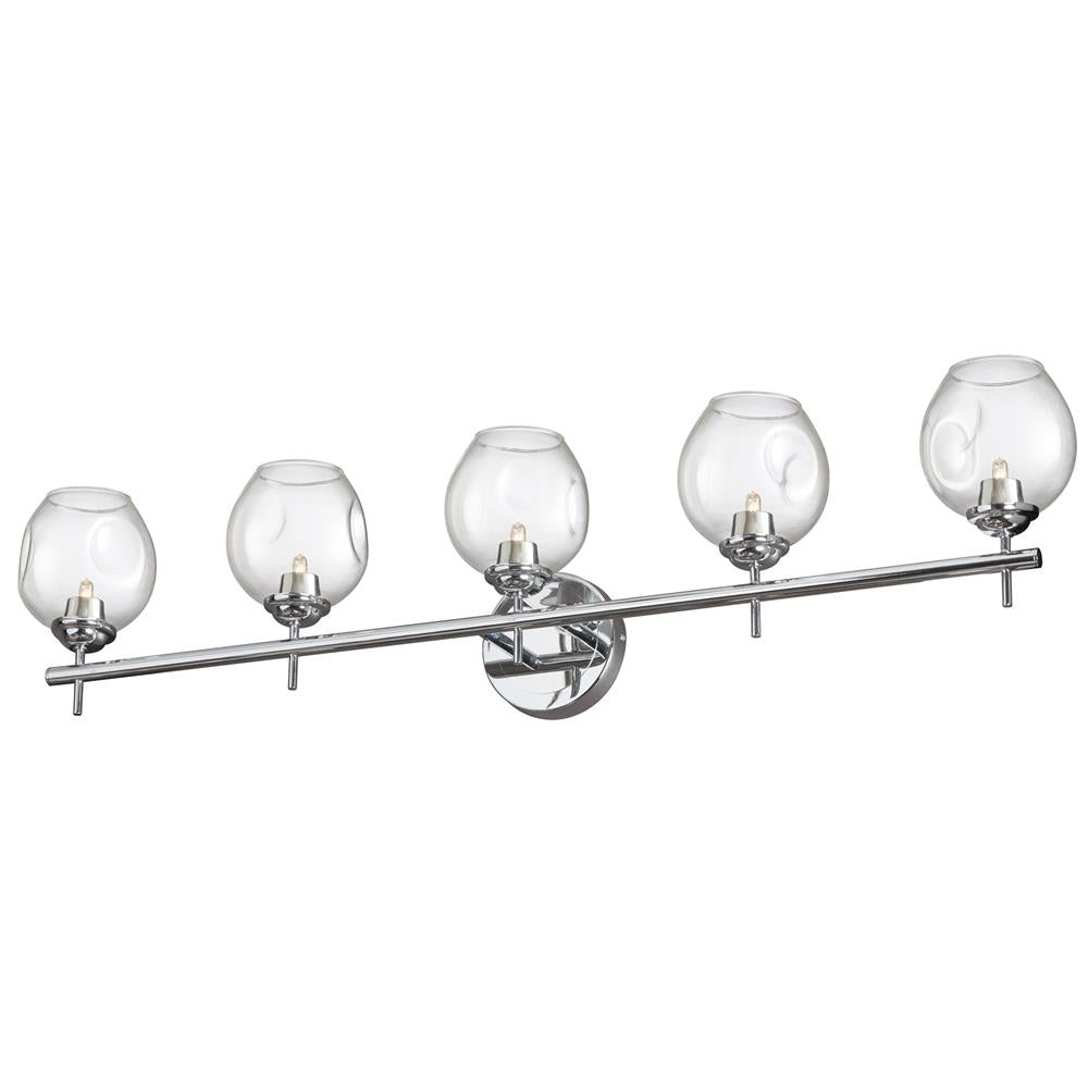 Dainolite ABI-365W-PC Abii 5 Light Halogen Vanity Polished Chrome with Clear Glass