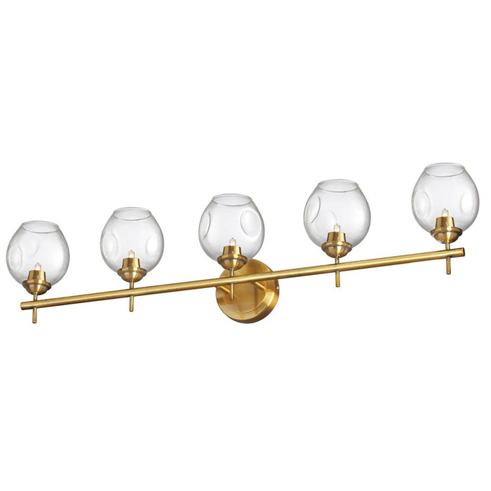 Dainolite ABI-365W-VB-CLR Abii 5 Light Halogen Vanity Vintage Bronze with Clear Glass