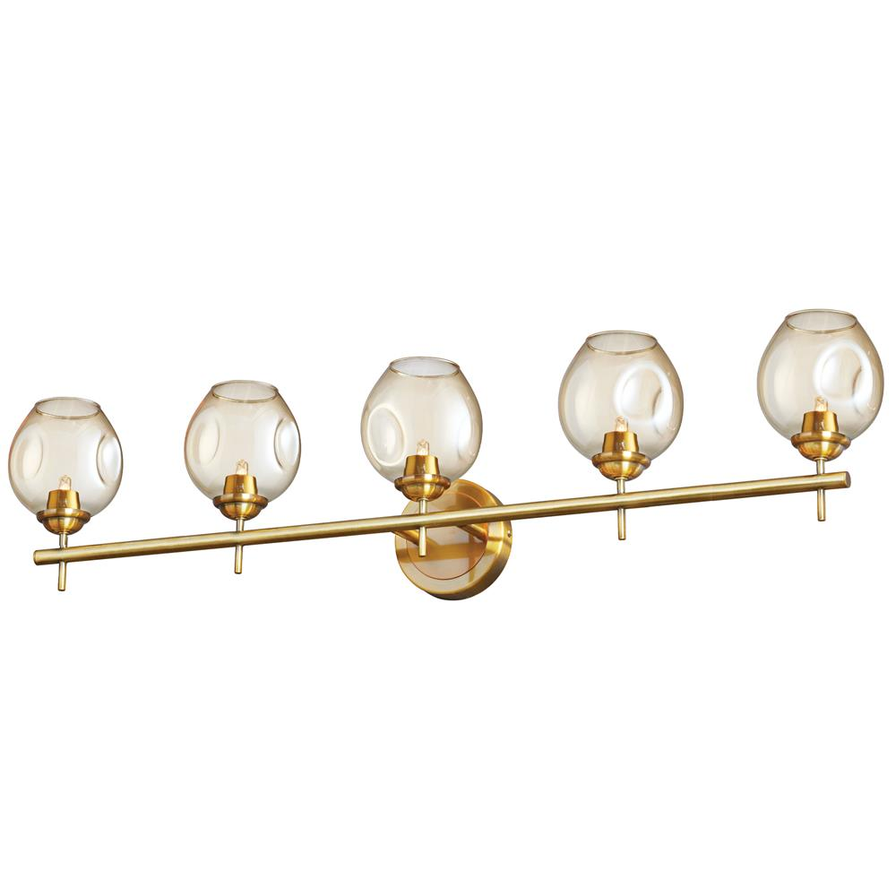Dainolite ABI-365W-VB Abii 5 Light Halogen Vanity Vintage Bronze with Champagne Glass