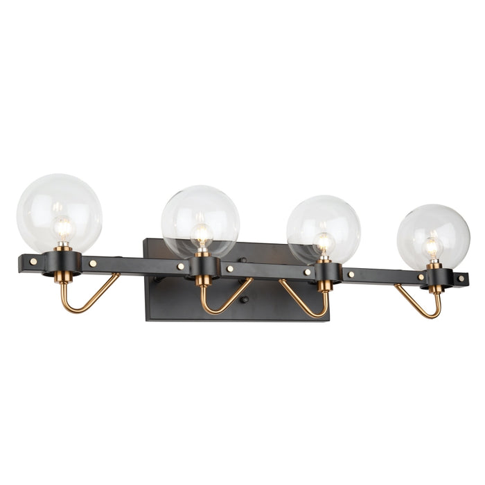 Artcraft Lighting AC11424CL Chelton 4 Wall Light in Matte Black & Harvest Brass
