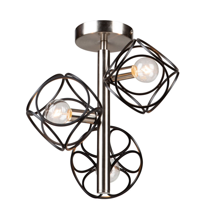 Artcraft Lighting AC11563NB Sorrento 3 Semi-Flush Mount in Matte Black & Satin Nickel