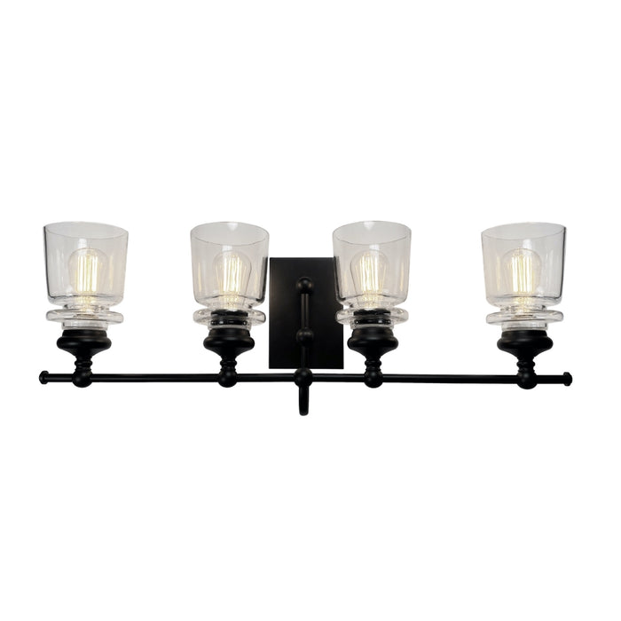 Artcraft Lighting AC11594BK Castara 4 Wall Light in Black & Brass