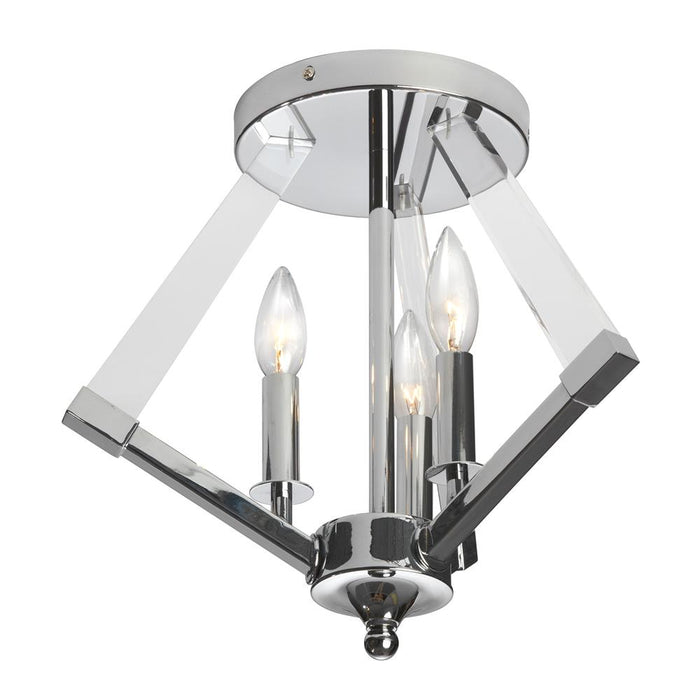 Dainolite ALT-153SF-PC 3 Light  Semi Flush Polished Chrome Bronze With Acrylic Arms