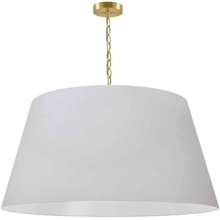 Dainolite BRY-XL-AGB-790  1 Light Brynn Extra Large Pendant, White Shade, Aged Brass
