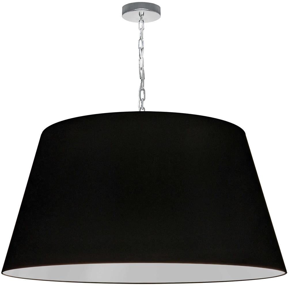 Dainolite BRY-XL-PC-797 Brynn 1 Light Brynn X-Large Pendant, Black Shade, Polished Chrome