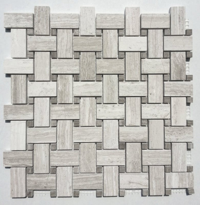 Basketweave Wooden Grey Kitchen Backsplash Tiles