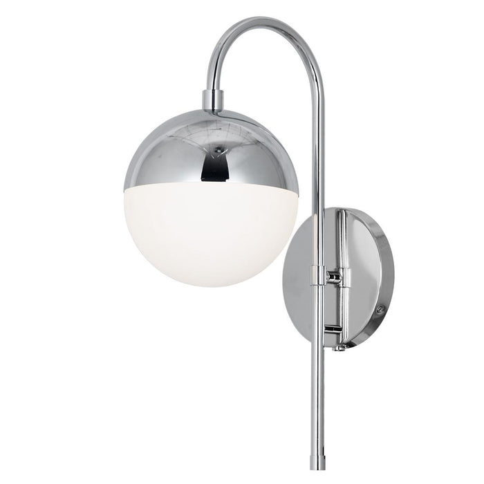 Dainolite DAY-71W-PC Dayana 1 Light Halogen Wall Sconce, Polished Chrome Finish with White Glass