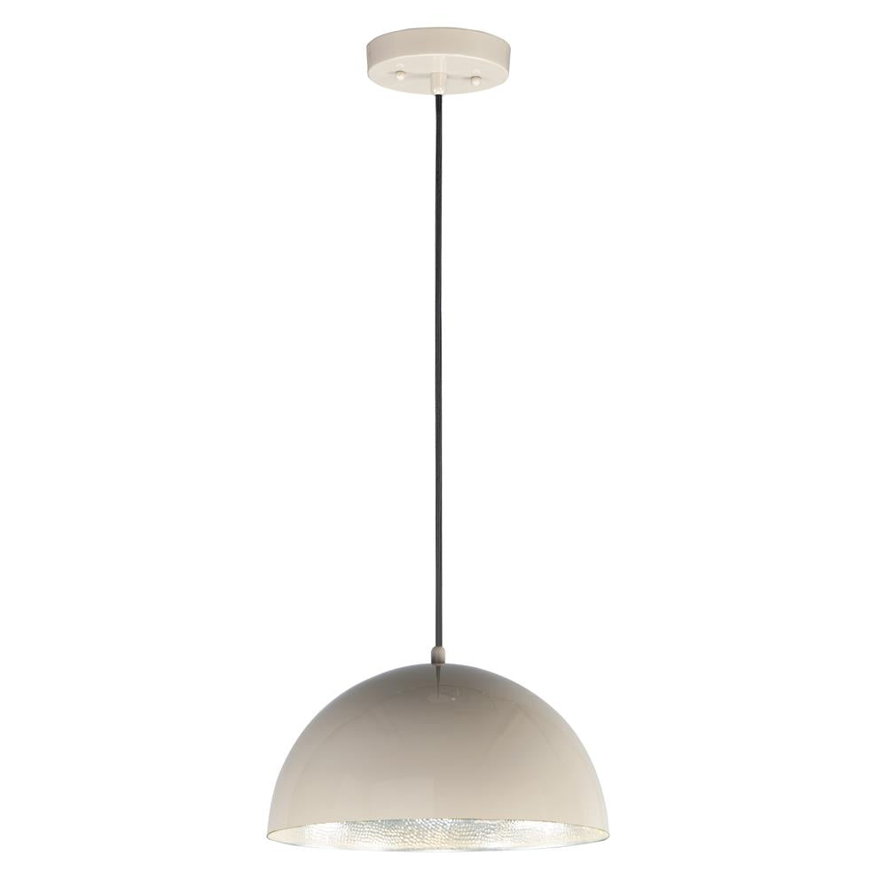"ET2 E24902-GTAL Hemisphere LED 1-Light 14"" Pendant in Gloss Taupe / Aluminum"