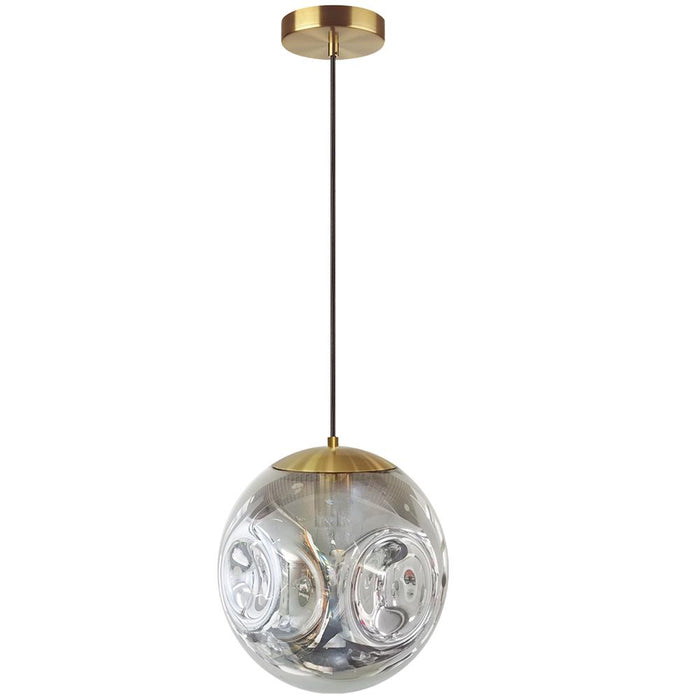 Dainolite ERS-101P-AGB-SM Eris 1 Light Incandescent Pendant, Aged Brass Finish with Smoked Glass