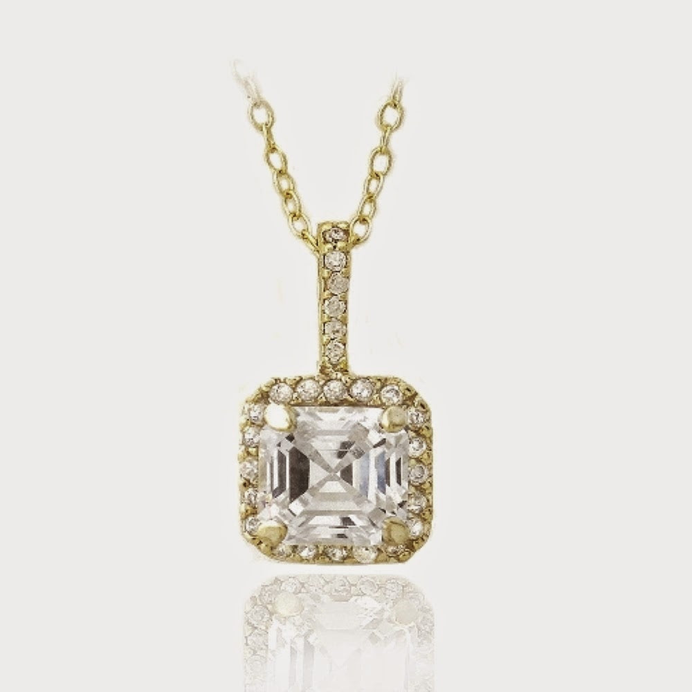 18k Gold Over Sterling Silver Square Cz Necklace