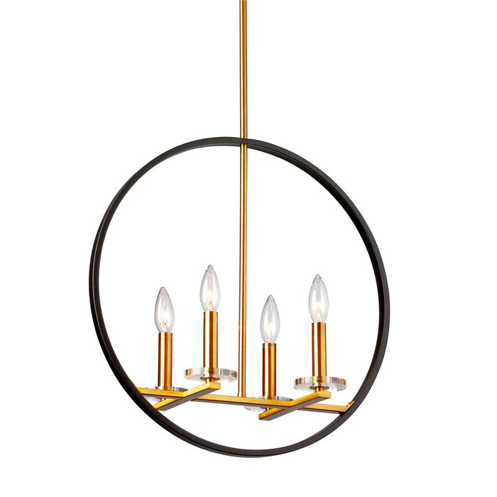 Dainolite FIO-194P-MB-VB 4LT Incandescent Pendant, MB & VB Finish