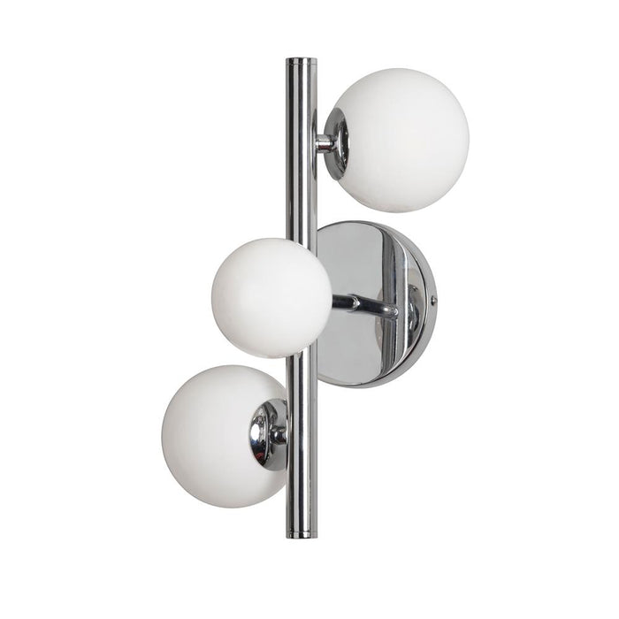 Dainolite GLA-131W-PC Glasgow 3 Light Halogen Wall Sconce Polished Chrome Finish with White Glass