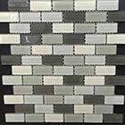 "Free Shipping Glass Mosaic 1"" x 2"" Aspen Grey Backsplash Tile"