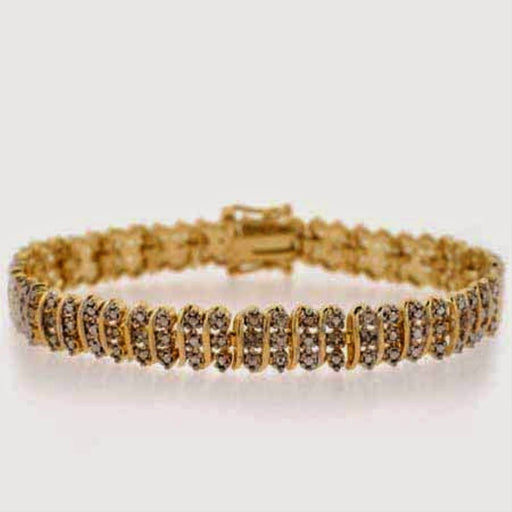 18k Gold Over Silver 1-8ct. Tdw S Pattern Tennis Bracelet