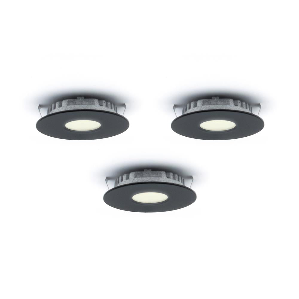 Dals Lighting K4001-BK Kit of 3 LED Superpuck Recess, 1.6W, 3000k, 168 Lumens - BK