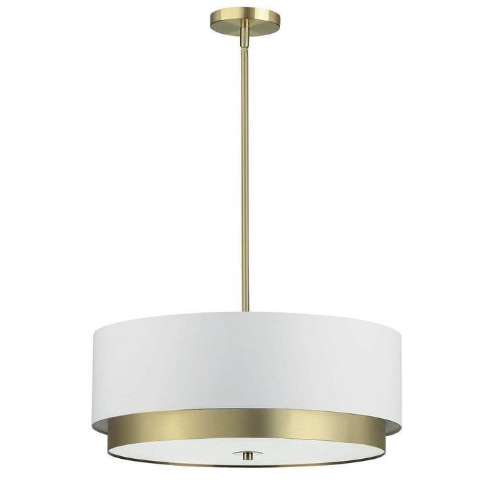 Dainolite LAR-204LP-AGB Larkin 4 Light Large Pendant, Aged Brass with White Shade, Frosted Glass Diffuser